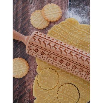 Achat en ligne Rouleau à empreintes en bois Noël nordique 25 cm - Alice Délice