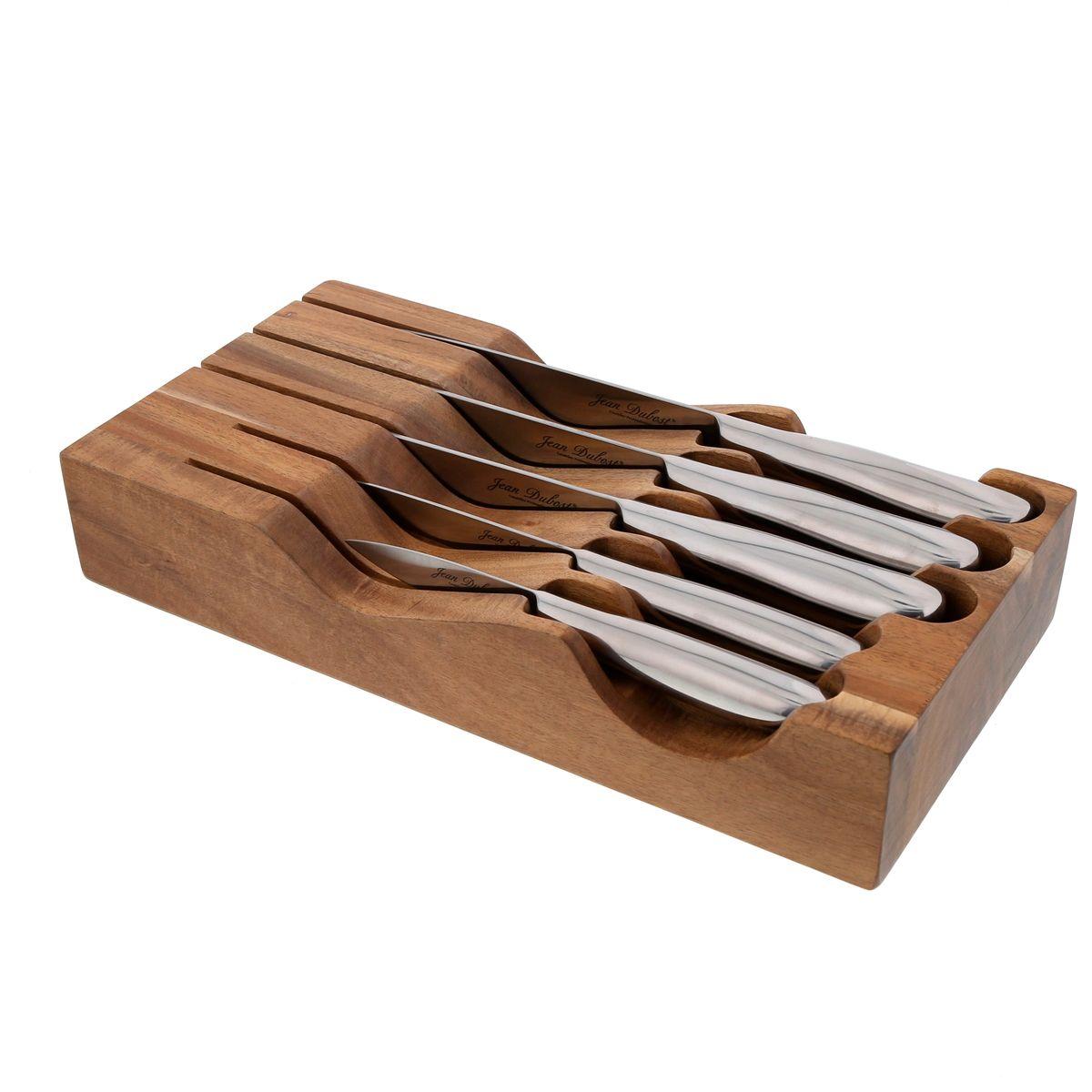Bloc universel aimanté de rangement en acacia avec 5 couteaux - Jean Dubost