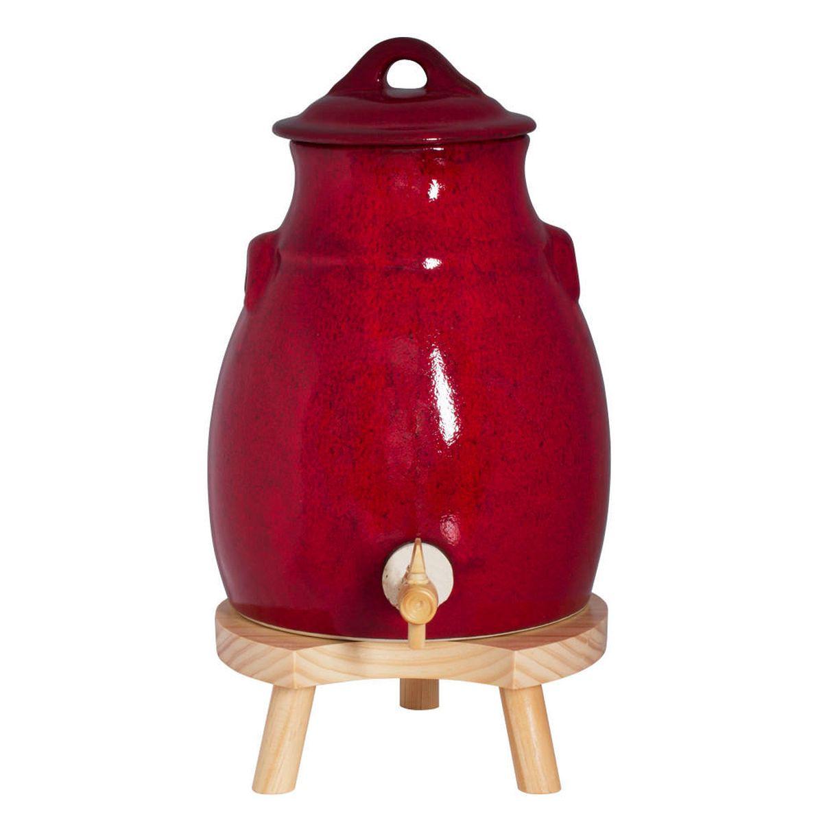 Vinaigrier rouge en grés 3,5 L avec socle en bois - Table passion