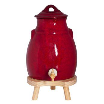 Achat en ligne Vinaigrier rouge en grés 3,5 L avec socle en bois - Table passion