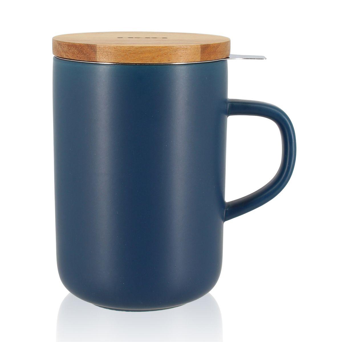 Tisanière en grès couvercle bois bleu 475ml - Ogo
