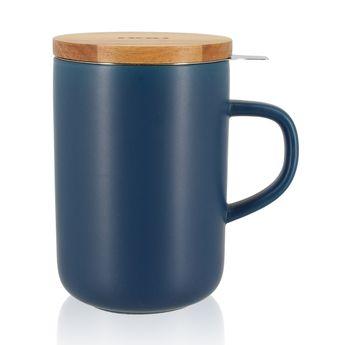 Achat en ligne Tisanière en grès couvercle bois bleu 475ml - Ogo