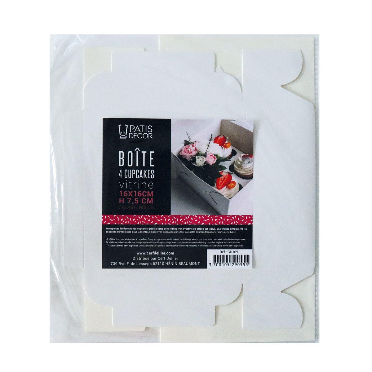 Boîte de transport 4 cupcakes en carton blanc 16 x 16 x 7.5 cm - Patisdecor