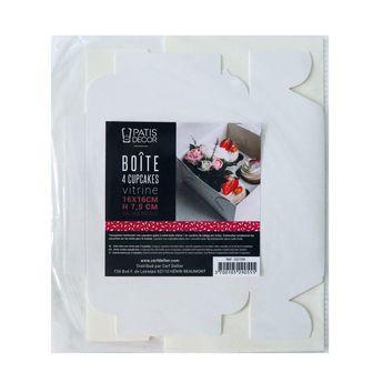Achat en ligne Boîte de transport 4 cupcakes en carton blanc 16 x 16 x 7.5 cm - Patisdecor