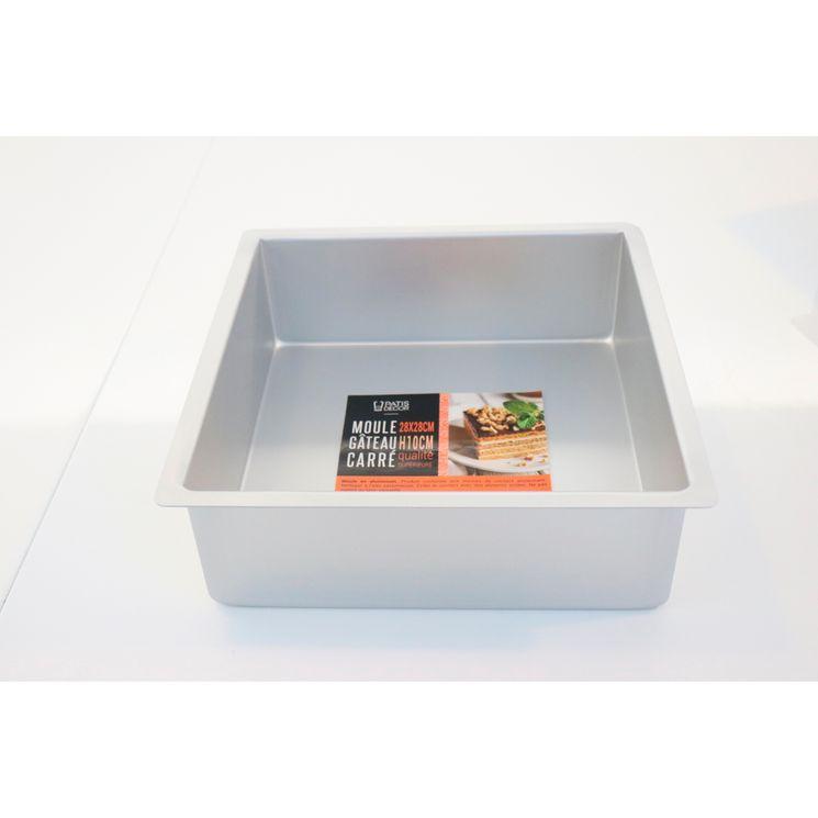 Moule à bords hauts carré en aluminium 28 x 10 cm - Patisdecor