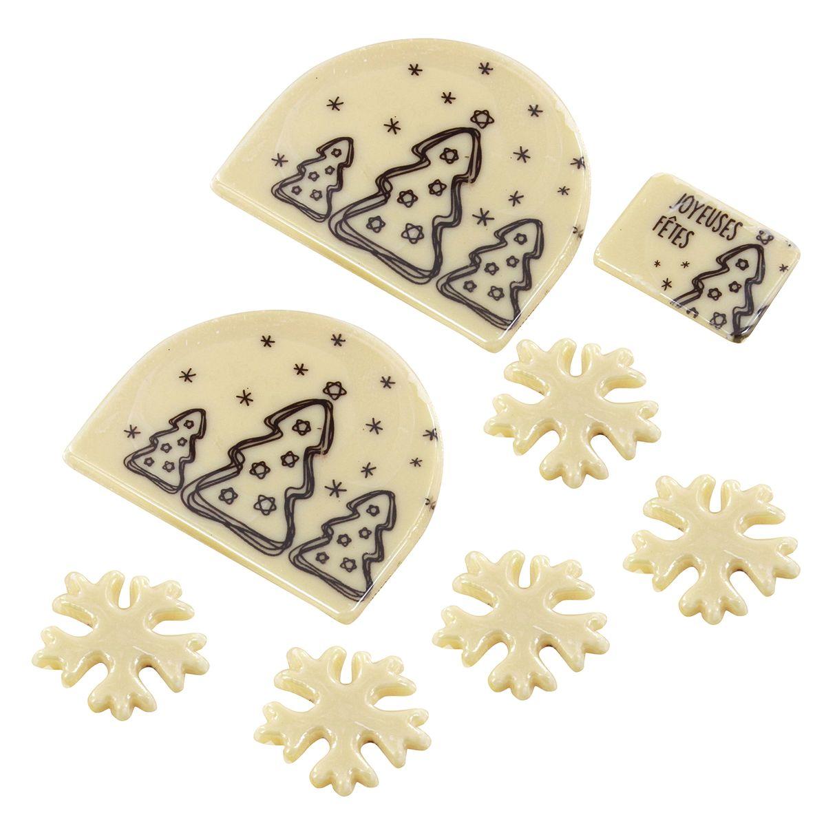 Set embouts bûche de Noël et décors alimentaire sapin blanc