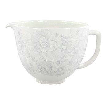 Achat en ligne Accessoire : Bol en céramique blanc et fleurs grises 4.8 l KIT2CB5PWF - Kitchenaid