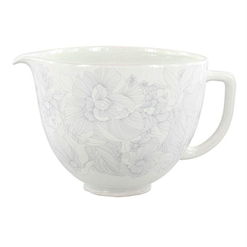 Accessoire : Bol en céramique blanc et fleurs grises 4.8 l KIT2CB5PWF - Kitchenaid