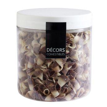 Achat en ligne Décor en chocolat : petits copeaux au deux chocolats noir et blanc 80 gr