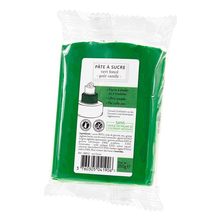 Pâte à sucre vert foncé 250g sans huile de palme