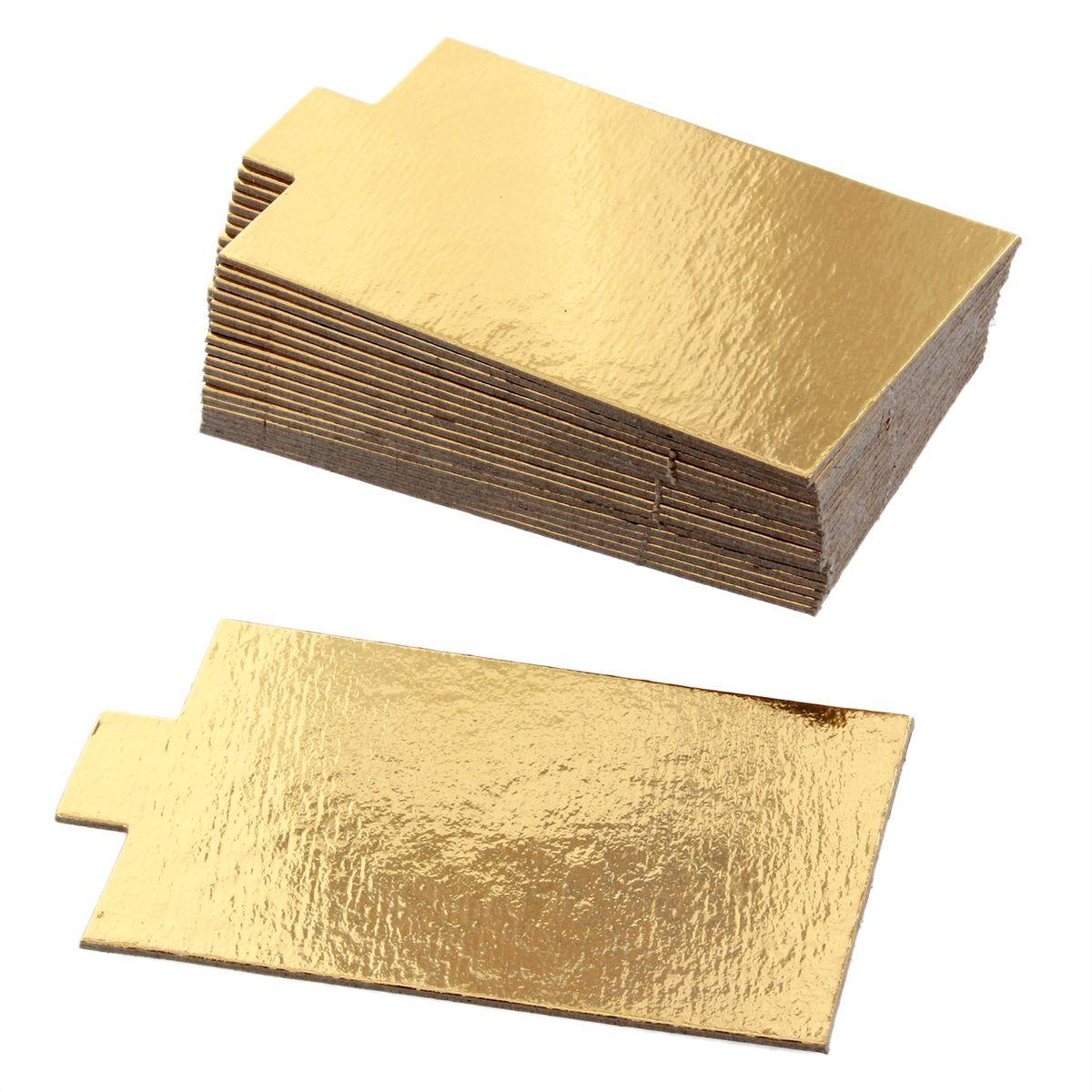 20 supports à gâteaux individuels rectangulaires dorés 8 cm - Gatodeco