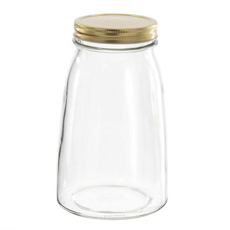 Bocal en verre couvercle doré 1,5l - Borgonovo