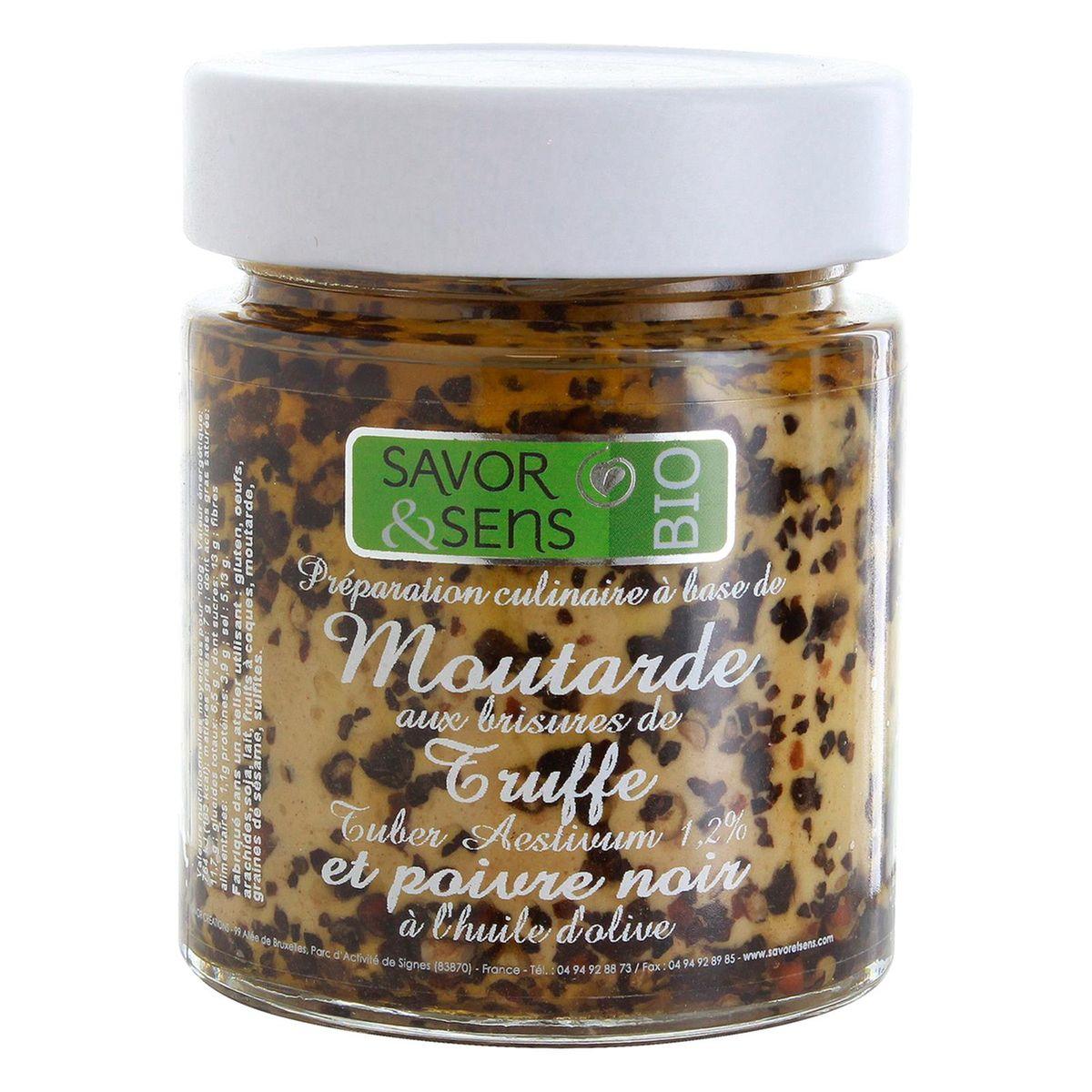 Moutarde bio brisures de truffe noire 130g - Savor et Sens