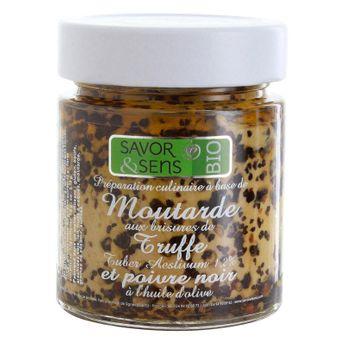 Achat en ligne Moutarde bio brisures de truffe noire 130g - Savor et Sens