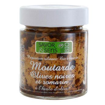 Achat en ligne Moutarde bio olives noires romarin 130g - Savor et Sens