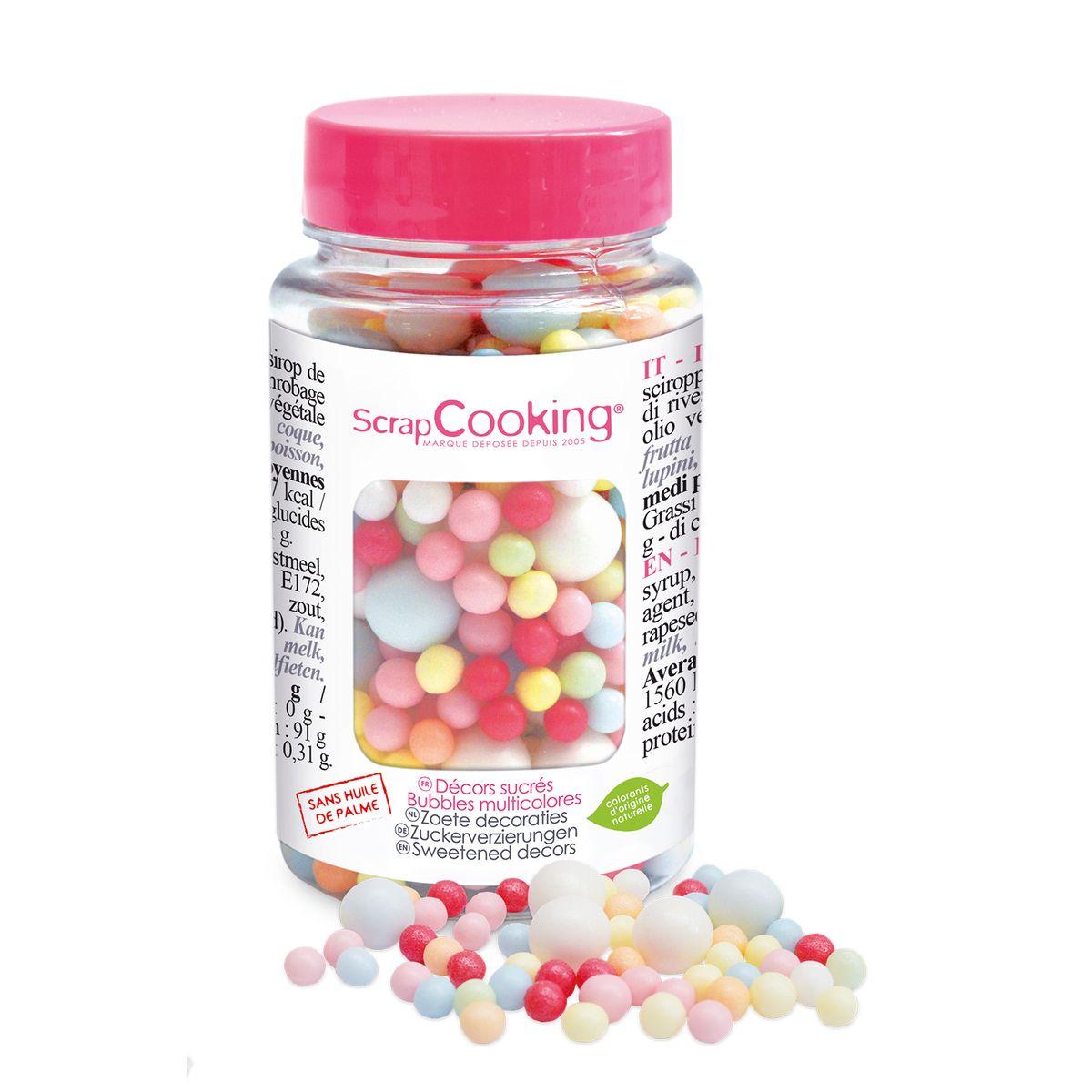Pot de décors en sucre bubbles multicolores 70 gr - Scrapcooking