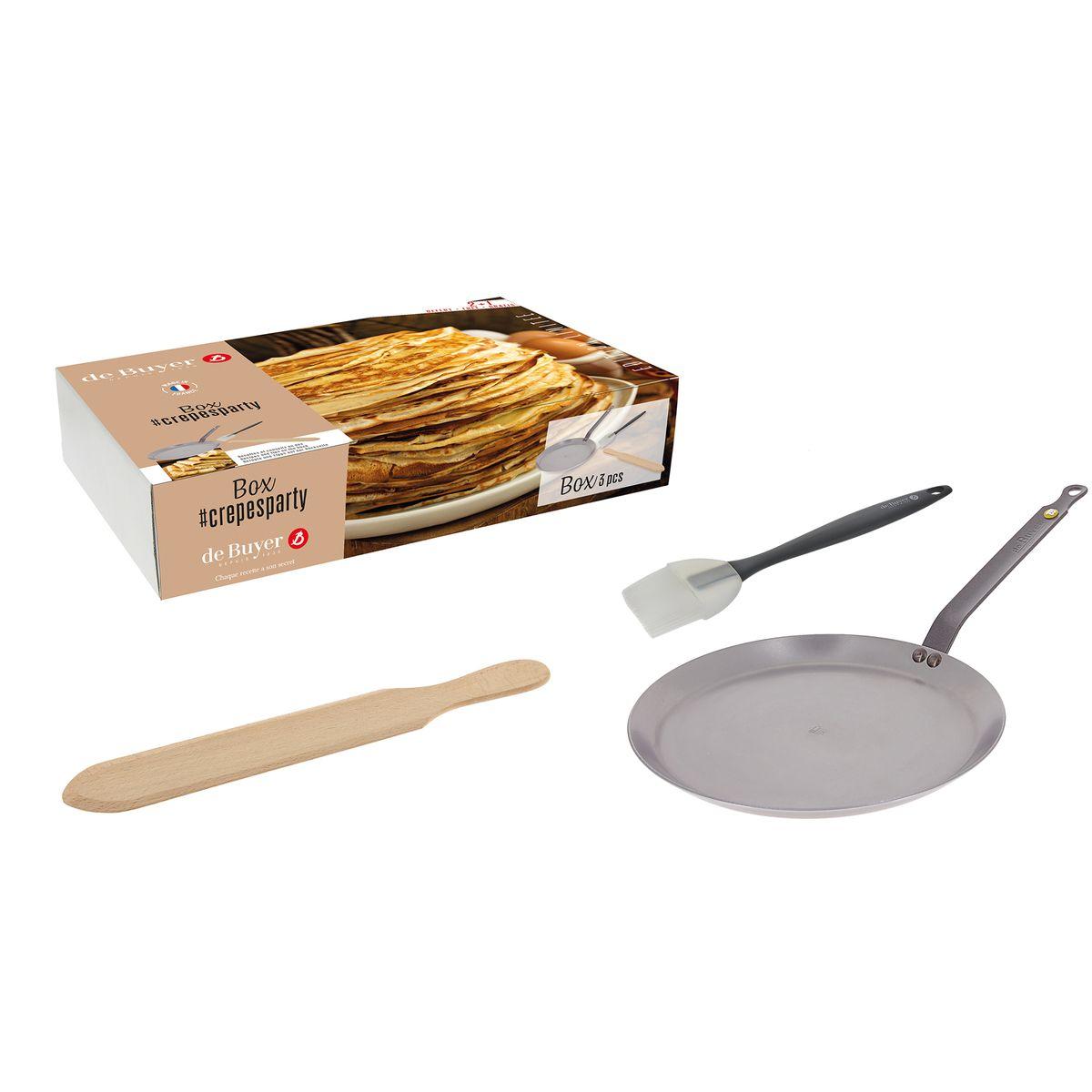 Set avec crêpière minéral B 26 cm + pinceau en silicone + spatule à crêpes en bois - De Buyer