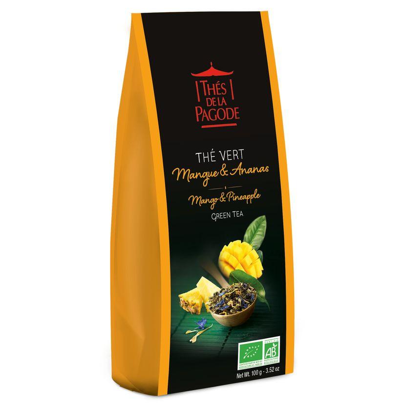Thé vert bio mangue ananas 100gr - Thés de la Pagode