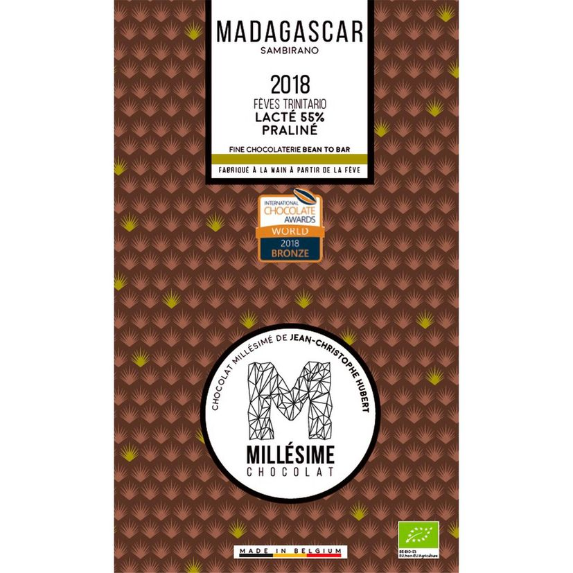 Chocolat Madagascar Bio Lait praliné 70g - Millésime