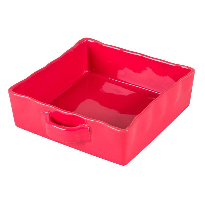 Plat à four rectangulaire en grès rouge 23 x 23 cm - Table Passion