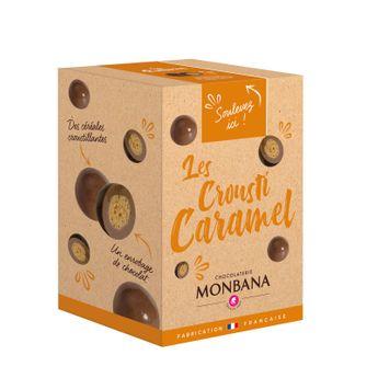 Achat en ligne Croustilles de céréales enrobées de chocolat au lait saveur caramel 135g - Monbana