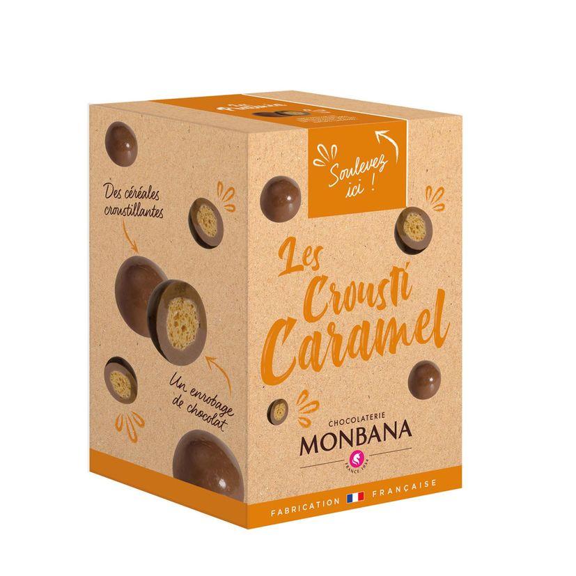 Croustilles de céréales enrobées de chocolat au lait saveur caramel 135g - Monbana