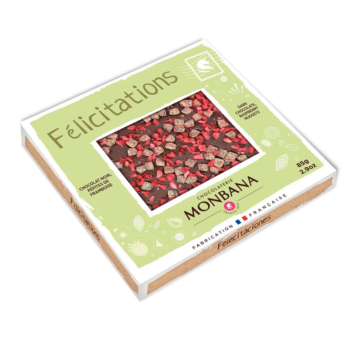 Tablette de chocolat noir aux framboises 85g - Monbana