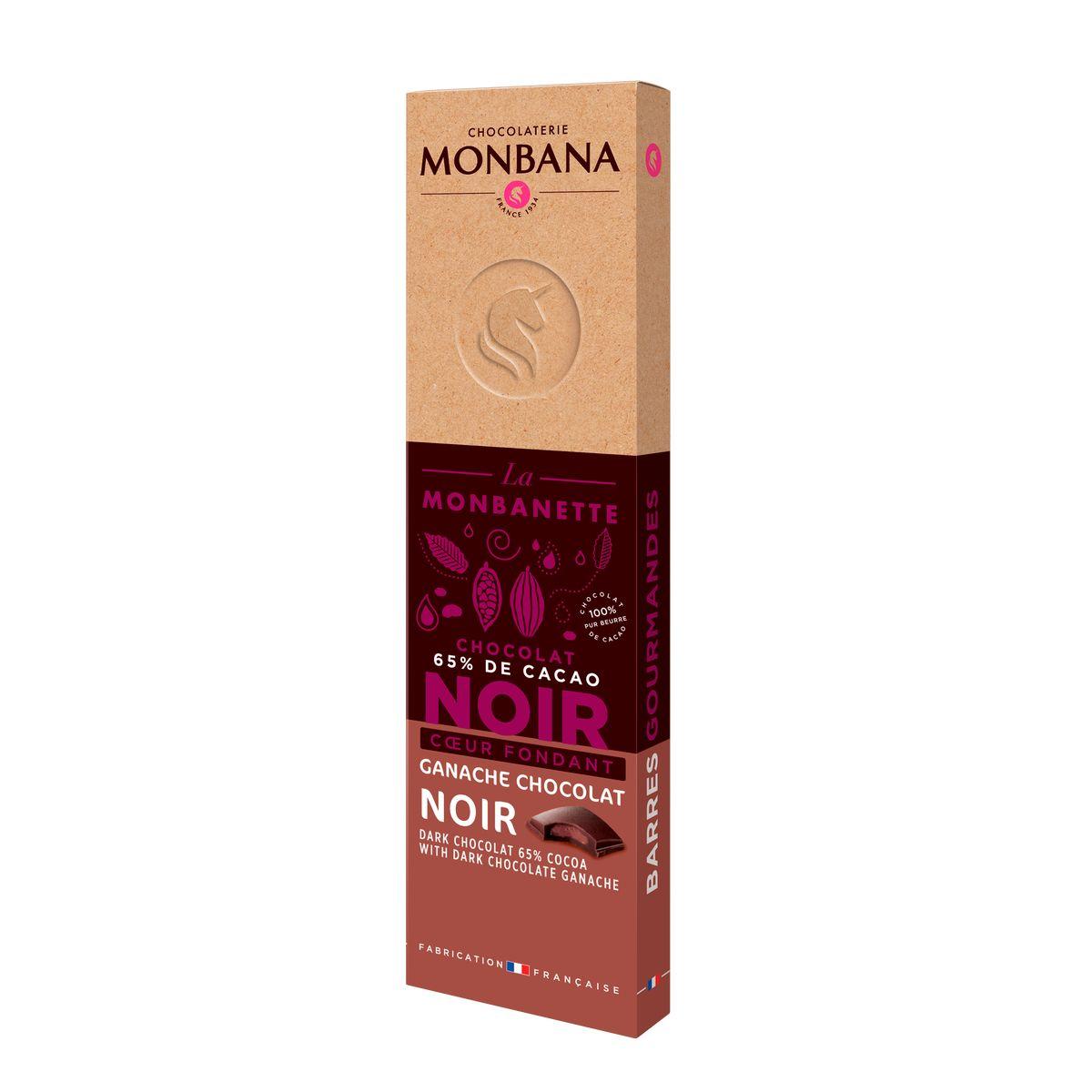 Barre de chocolat noir coeur ganache fondante 40g - Monbana