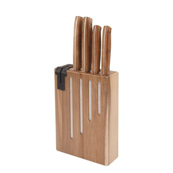 Achat en ligne Bloc 4 couteaux Natural Life acacia avec affuteur intégré - Jean Dubost