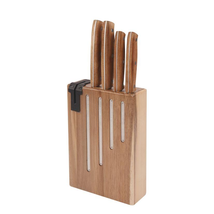 Bloc 4 couteaux Natural Life acacia avec affuteur intégré - Jean Dubost
