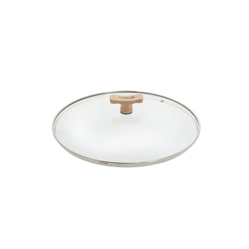 Couvercle en verre avec bouton en bois diamètre 24 cm - De Buyer
