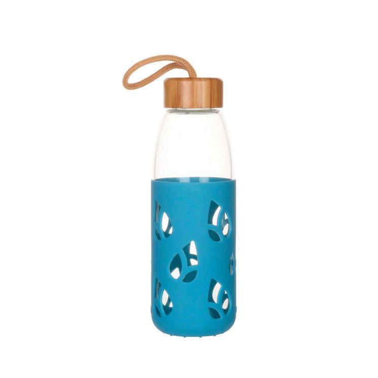 Bouteille en verre et silicone nomade 55 cl - bleu - Pebbly