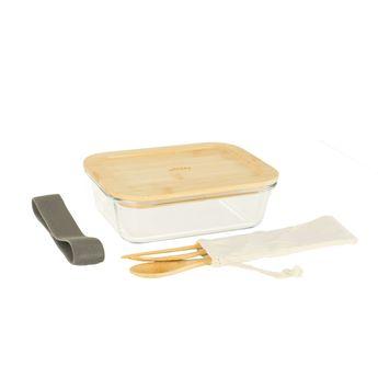 Achat en ligne Lunch box nomade en verre/bambou & couverts en bambou - 1000 ml - Pebbly