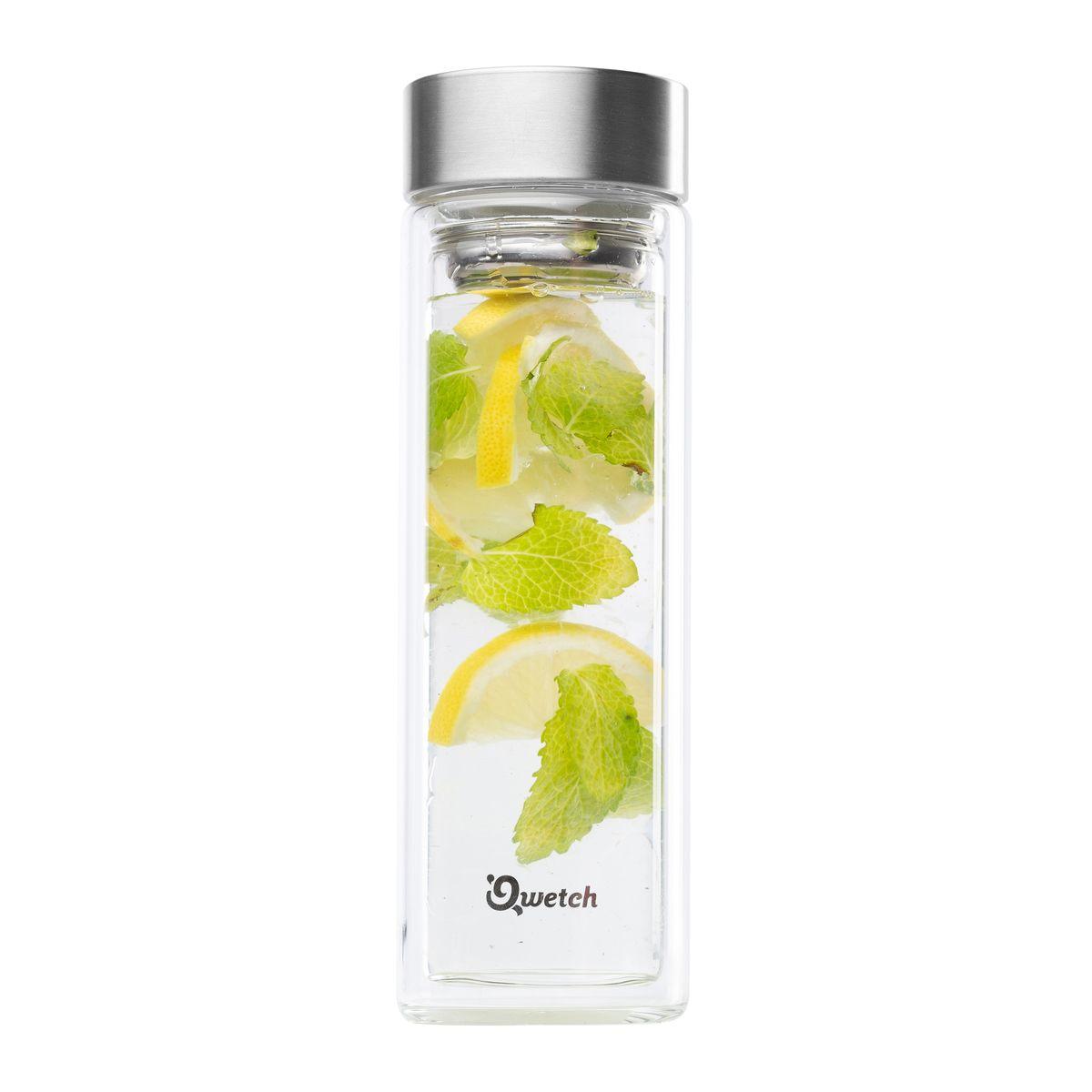 Théière verre double paroi inox brossé 430ml - Qwetch