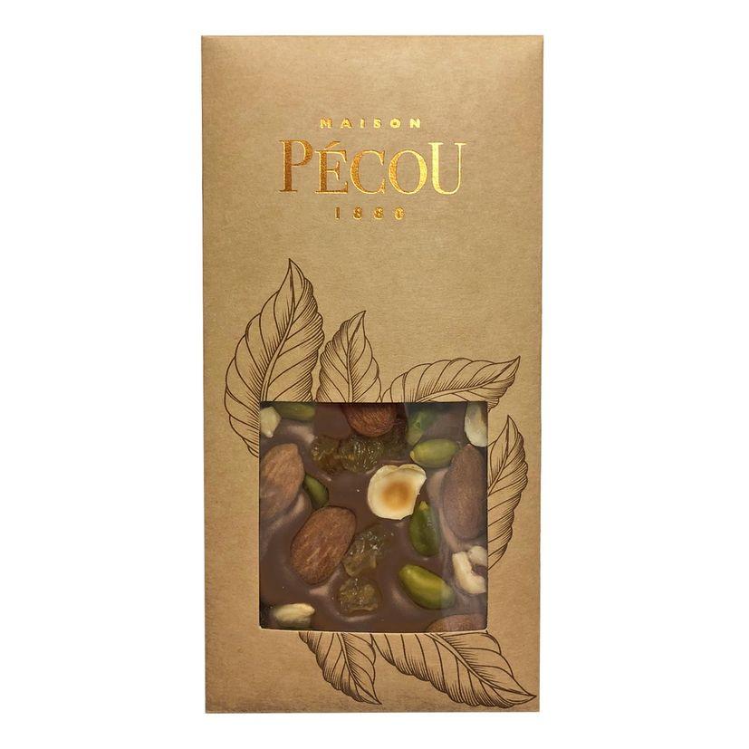 Tablette chocolat noir aux fruits secs - Pecou