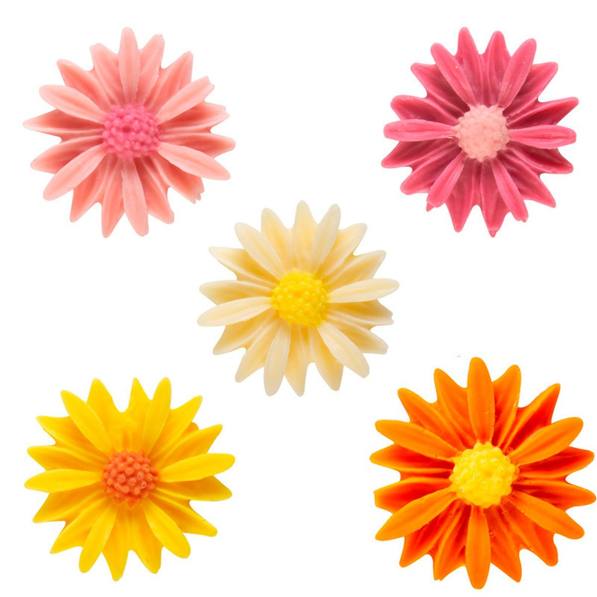 Décor en chocolat : 8 fleurs roses, jaunes et oranges 2.5 cm