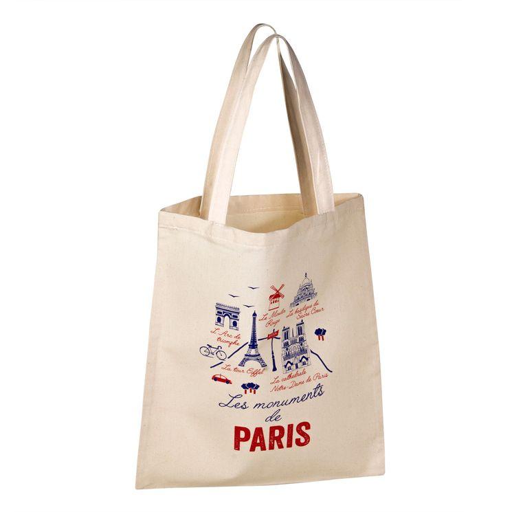 Totebag Monuments de Paris 100% coton - Tissage de L´Ouest