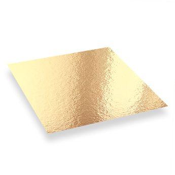 Achat en ligne 5 supports à gâteaux carrés dorés et noirs 28 x 28 cm - Patisdecor