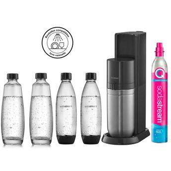 Achat en ligne Machine Duo Noire pack 4 bouteilles : 2 bouteilles lave-vaisselle 1L  + 2 carafes verre 1 L - Sodastream