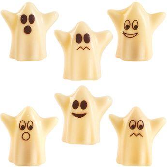Achat en ligne Décor en chocolat : 6 fantômes en chocolat blanc pour gâteau d´Halloween 3.8 cm