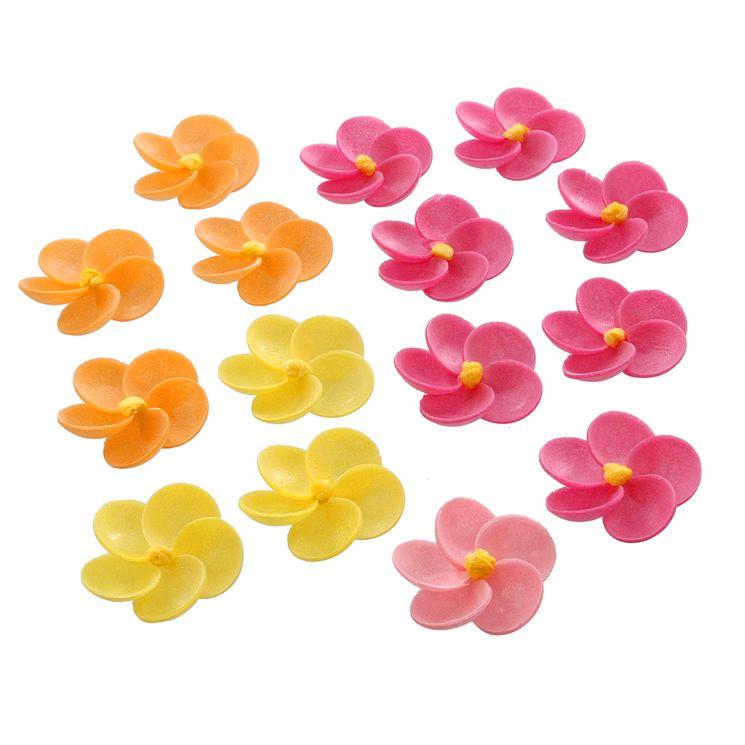 Décor en azyme : 15 fleurs jaunes, oranges et roses 3.5 cm