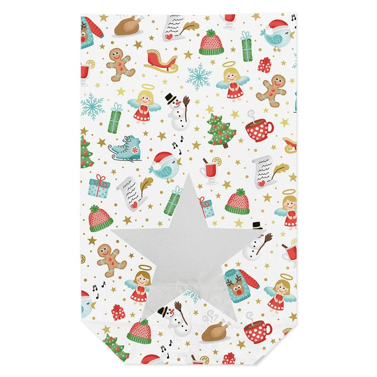 10 sachets confiseur avec clips joies d´hiver Noël 14,5 x 23,5 cm - Zischka