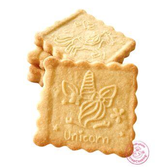 Achat en ligne Tampon en bois pour biscuit 5 motifs et emporte pièce motif licorne - Scrapcooking