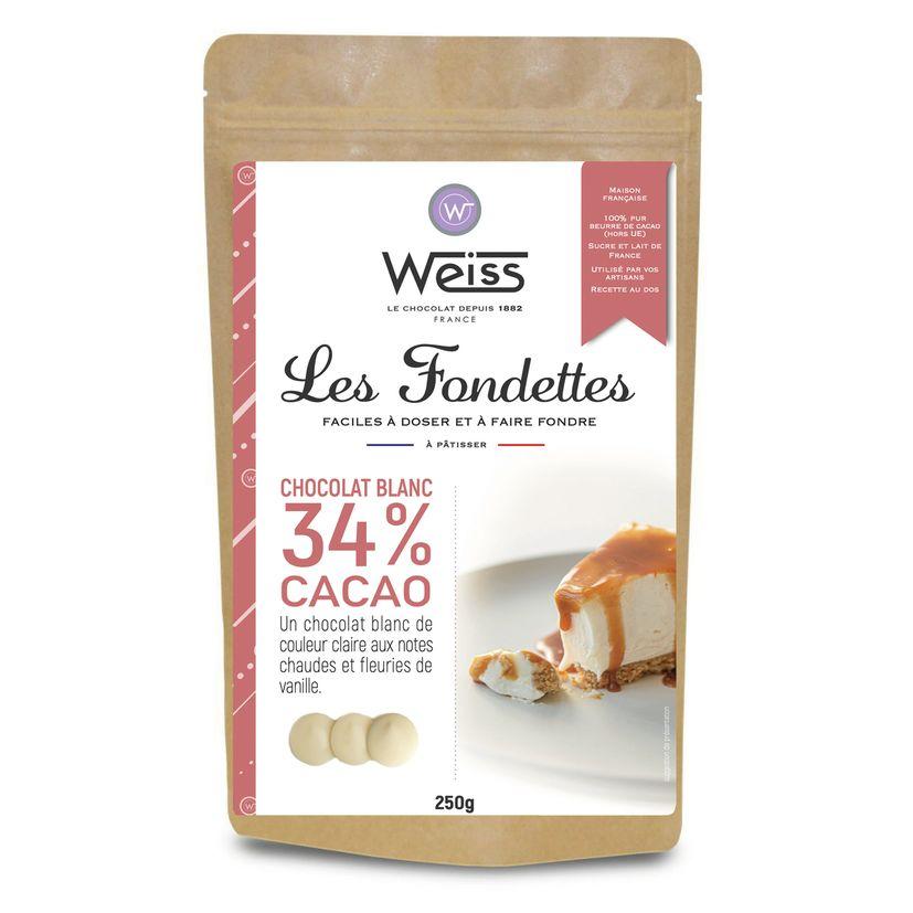 Chocolat blanc à patisser Anéo 34% Les Fondettes 250 gr - Weiss