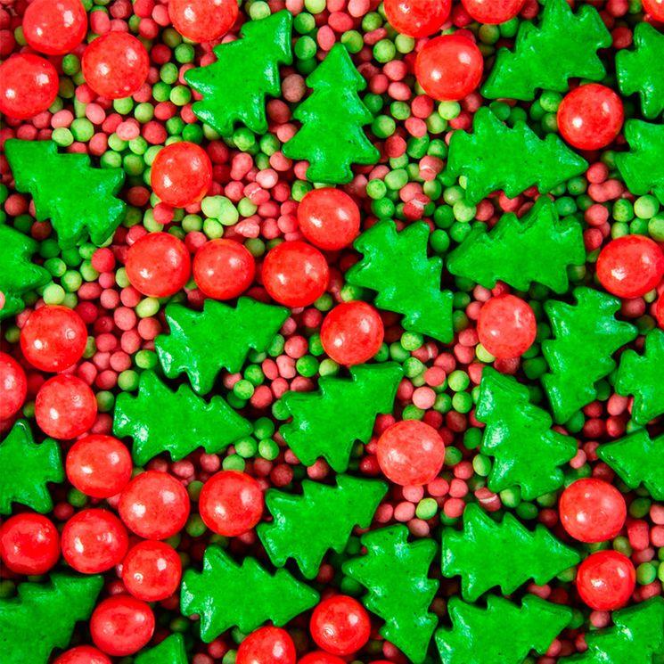 Décor à parsemer : perles et sapins de Noël rouges et verts 100 gr