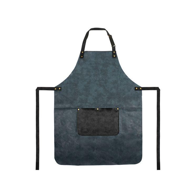 Tablier en cuir 80x64cm bleu - Gusta