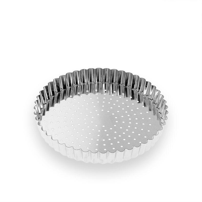 Moule à tarte perforé fond amovible en fer blanc 4/6 parts 20 cm - Alice Délice