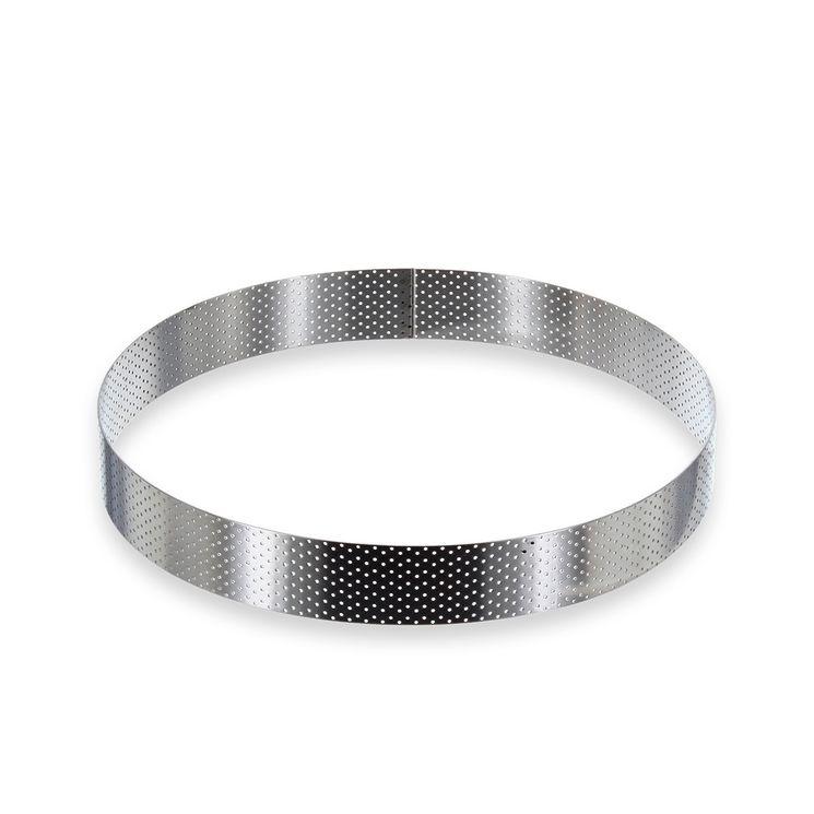 Cercle à tarte haut en inox perforé 24,5 x 3,5 cm - De Buyer