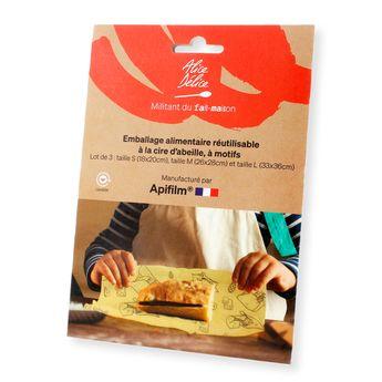 Achat en ligne Lot de 3 emballages alimentaires réutilisables coton et cire d´abeille taille S. M et L Graphik - Alice Delice