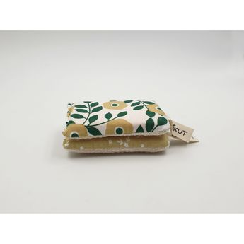 Achat en ligne Eponges écologiques x2 coton et pulpe de bois lavables fleurs vertes - Cookut